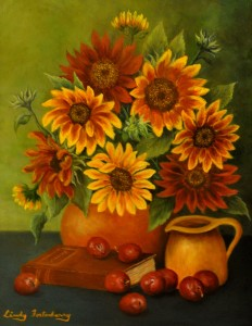 Plums-and-Sunflowers,-Oil,-
