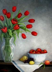 April's Tulips, Oil, 30x40