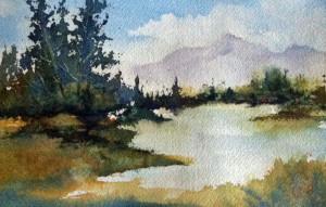 Mountain Summer, Watercolor, 6x9